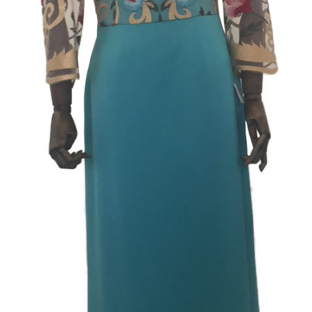 Vestido largo color turquesa, delantero