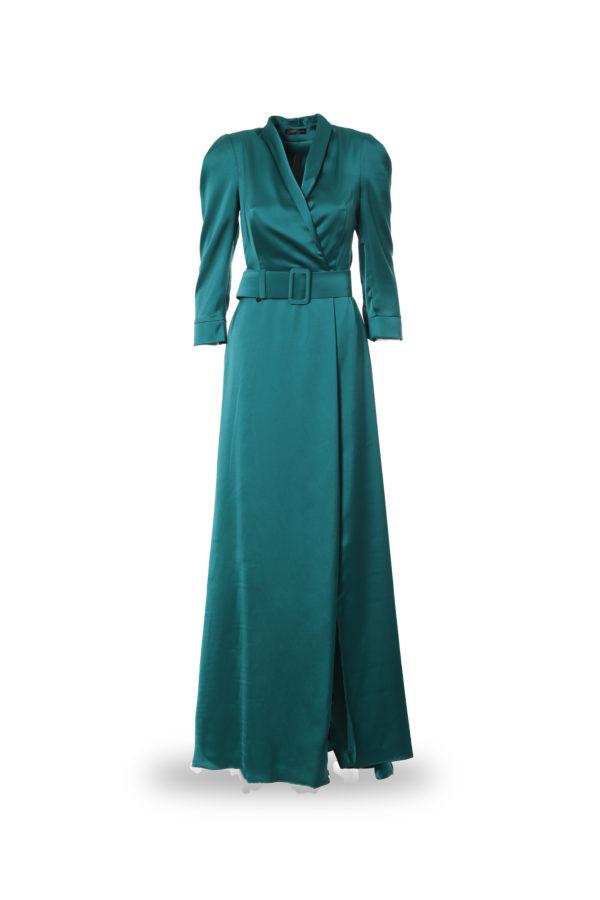 Vestido largo de color verde, delantero