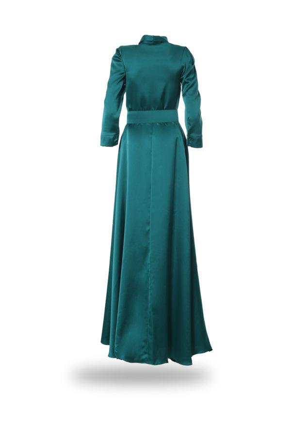 Vestido largo de color verde, espaldas