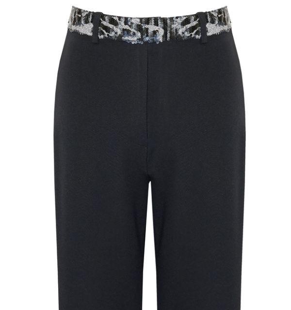 Pantalón Negro con Cinturón de Lentejuelas
