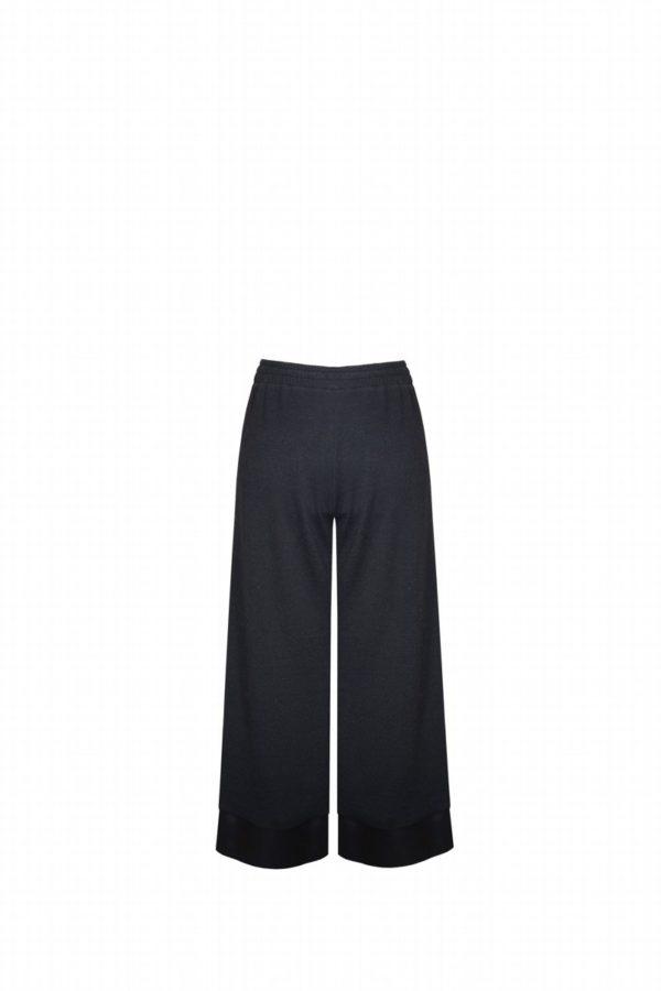 Pantalón Negro Midi Ancho